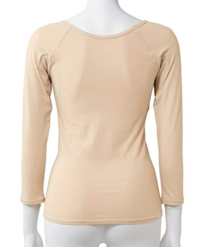 [nissen(ニッセン)]インナー肌着セット2枚組汗取りパッド付長袖8分袖綿混滝汗さんレディースオフホワイト+ベージュL