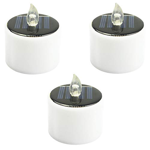 Solar Powered LED Candles Flameless Electronic Solar LED Tea Lights Lamp 3PC, LED Light, Products for Christmas Day (White)