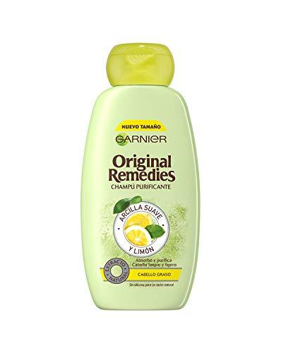 GARNIER Original Remedies - Champú con Arcilla Suave y Para Pelo Graso, Multi, Limón, 300 Mililitros