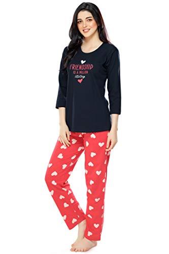 ZEYO Women's Cotton Heart Printed Navy Blue Night Suit Set of Top & Pyjama 5290
