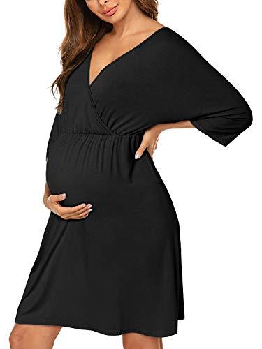 SUNNYME Women Maternity Nightie Nursing Nightgown Summer Soft Labor and...