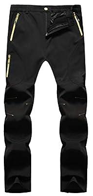 Singbring Men's Outdoor Lightweight Quick Dry Waterproof Hiking Mountain Pants Large Black(05B)