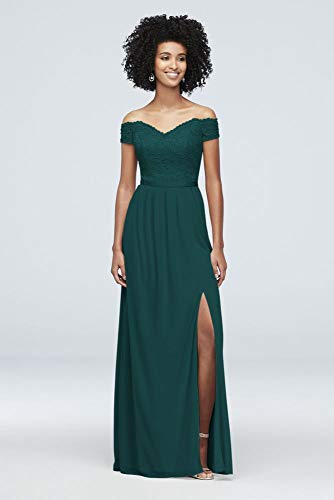 Off-The-Shoulder Lace and Mesh Bridesmaid Dress Style F19950, Gem, 0