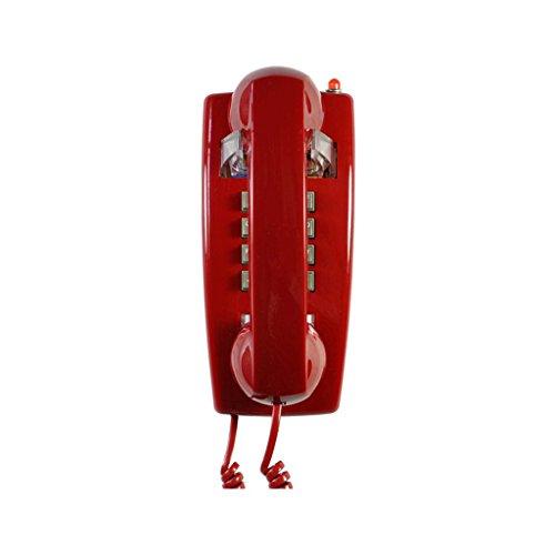 NDIANHUA Schnurgebundenes Telefon/Retro- Telefon/Wand hängende Weinlese-Dekorative Telefone/Wand-Telefon mit Druckknopf-Technologie/Metallring-Töne/Festnetztelefone / Antike Telefone rot A+