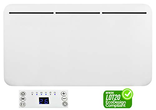 MYLEK Electric Panel Heater - Wall Mounted or Free Standing - Eco Energy Efficient Digital Display, Thermostat, Timer, Anti Frost Function, Bathroom IP24, ERP Lot20 (2000W)