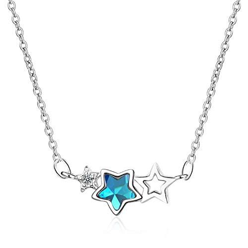 ShFhhwrl Collar Personalidad De La Moda Cristal Azul Estrella De Cinco Puntas Mujeres Dulces Collares Pendientes