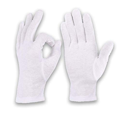 3 paar Weiße Baumwollhandschuhe Trikothandschuhe Zwirnhandschuhe, zum Unterziehen für Männer und Frauen (L)