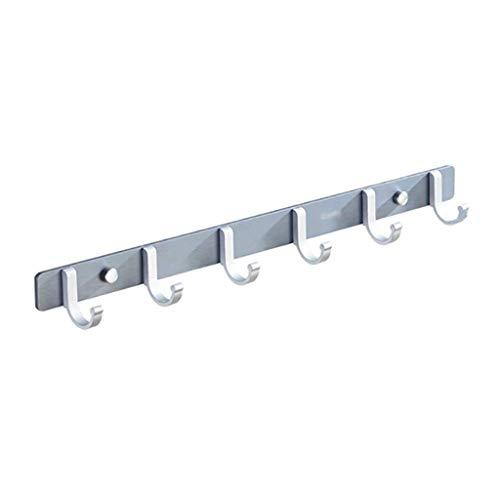 ZHICHUAN Espacio de Aluminio Gancho Ganchos Escudo Montado en la Pared Puerta de Entrada Hat Rack Ganchos Decorativos por un Pasillo Cuarto de Baño Salón (Plata, 44.5 * 5 * 3 Cm) re