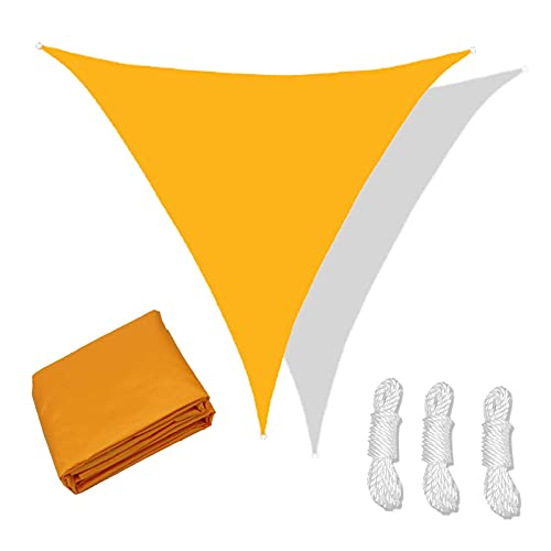 XQKXHZ Toldo Triangular Impermeable, Toldo Vela Protección contra Rayos UV, Vela De Sombra para Exterior Patio Jardín Terraza Piscina, Toldo De Vela Solar con Cuerdas,Dark Yellow,4.5x4.5x4.5m