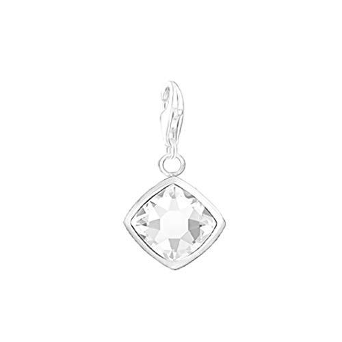AKKi jewelry Charm Anhänger mit karabiner Haken hänger,Silber Charms Charmed Swarovski krisstalle Elements bettel Armband Kette Zirkonia