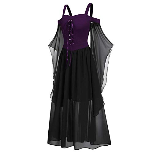 Vintage Plus Cold Shoulder Butterflies Sleeve Lace Up Gothic Style Halloween Dress Halloween Costumes for Women Girls (L, Lavender)
