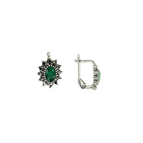 The Sultan, Finesse Series Juego de pendientes de plata de ley 925 con un tema otomano-turco, decorado con una preciosa piedra verde