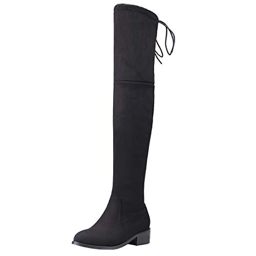 LUXMAX Donna Stivali Alti sopra Il Ginocchio Bassi Tacco Grosso Scarpe con Lacci Overknee Boots Invernali (Nero) - 37 EU