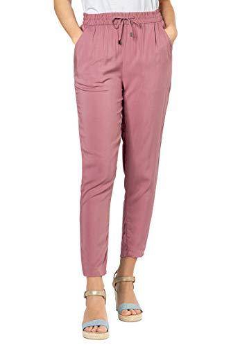 Sublevel Damen Stoff-Hose mit Bindegürtel aus Viskose Dark-Rose XL