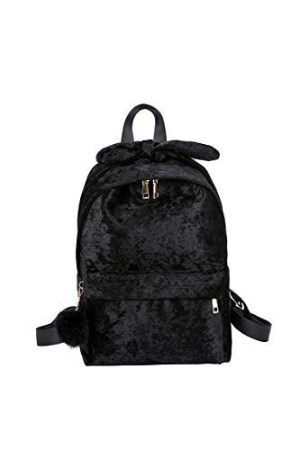 Howoo Damen Samt Mode Rucksack Beiläufig Tagesrucksack Süß Schultasche schwarz