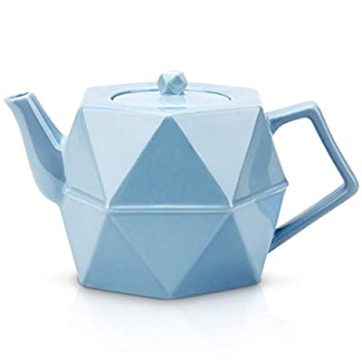 Teapot, Toptier Porcelain Teapot with Stainless Steel Infuser for Loose Tea, Diamond Design Ceramic Tea Pot for 34 Ounce (1000 ml), Blue