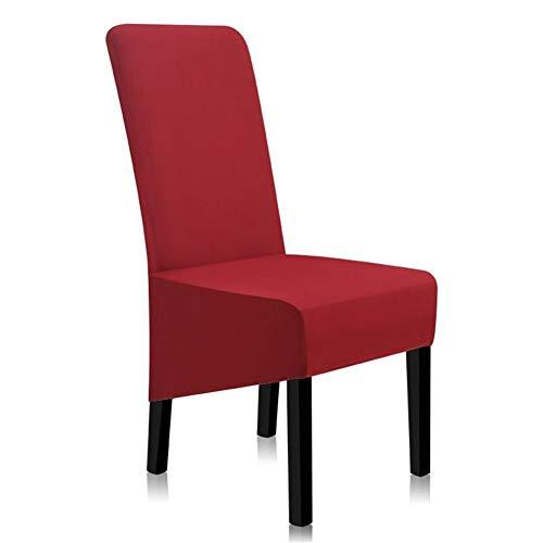 3°Amy Fundas de asiento para sillas de comedor, fundas de licra, color sólido, fundas para sillas de comedor, antisuciedad, elástica, para sillas de cocina, #A, Rojo, 1 pieza
