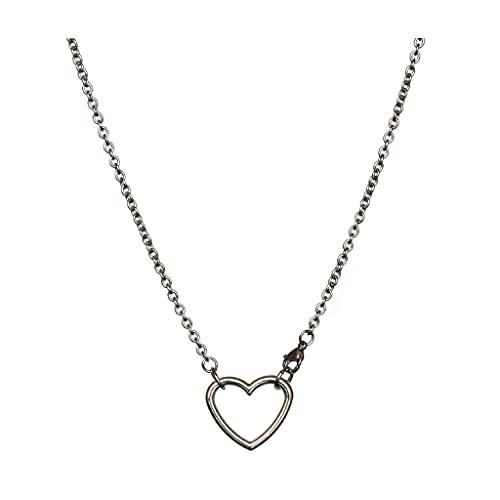 KGDC Collares Sencillez Collar de Cadena de Acero de Titanio, Collar de Pareja Simple Personalizada, Colgante de aleación El Amor Puede rotar el Collar Collars de Mujer (Size : 27.56in)