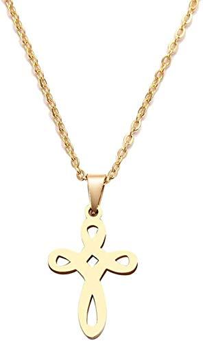 CAISHENY Collar de Acero Inoxidable para Mujer, Hombre, patrón de Tejido, Cruz, Color Dorado y Plateado, Colgante, Collar, joyería de Compromiso