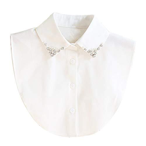 Collar Falso Camisa Desmontable Mujer Cuello Media Camisa Blusa Elegante (Blanco)