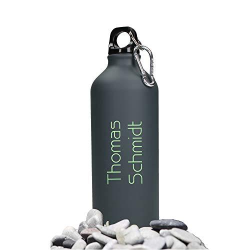Personalisierte Trinkflasche mit Namen 0,6 L aus Aluminium Kohlensäuregeeignet inkl. Farbgravur - Auslaufsichere Wasserflasche BPA-Frei - Sportflasche mit Wunschgravur (Gungrey-Lemon)