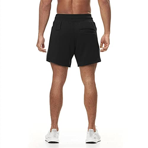 Superora Mens Running Gym Workout Athletic Sports Shorts with Pockets, Black, M-L