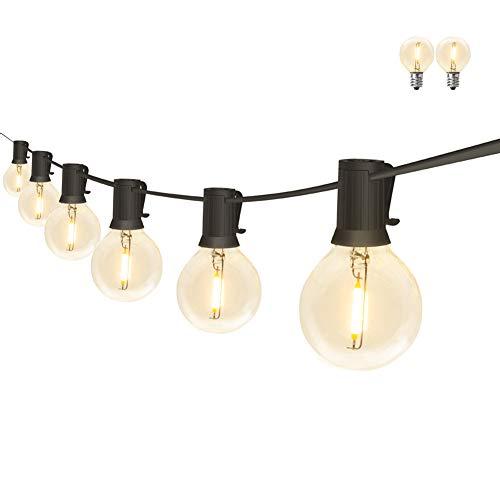 PDGROW Lichterkette Innen/Außen G40 Lichterketten 18FT Wasserdichte Lichterkette Beleuchtung 10 Birnen mit 2 Ersatzbirnen Dekoration für Garten, Party, Hochzeit, Weihnachten - Warmweiß