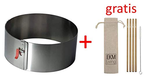 Lares 6003 Tortenring mit Klemmhebel, Weißblech, Durchmesser, Ø 17-30cm + Gratis 4er Set EKM Living Edelstahl Trinkhlme