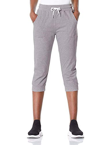 7GOALS Capris for Women Workout Cotton Sweatpants with Pocket Running Sweat Pant Lounge French Terry Yoga Pants Grey