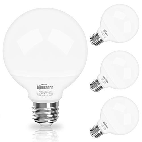 G25 Globe LED Bulbs 5000K Daylight, Vanity Light Bulb for Bathroom Vanity Mirror Honesorn Bathroom Light Bulbs 5W 60 Watt Equivalent Light Bulbs 500LM,E26 Medium Base,Non-dimmable,4 Pack