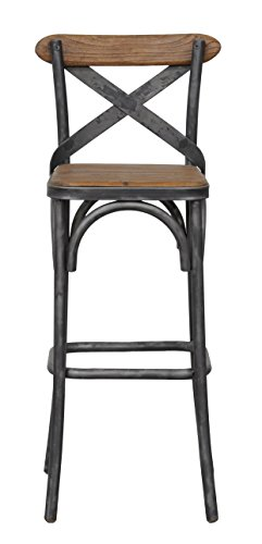 Kosas Home 53003561 Bentley Barstool, Hand-Distressed Natural Finish with Black Base