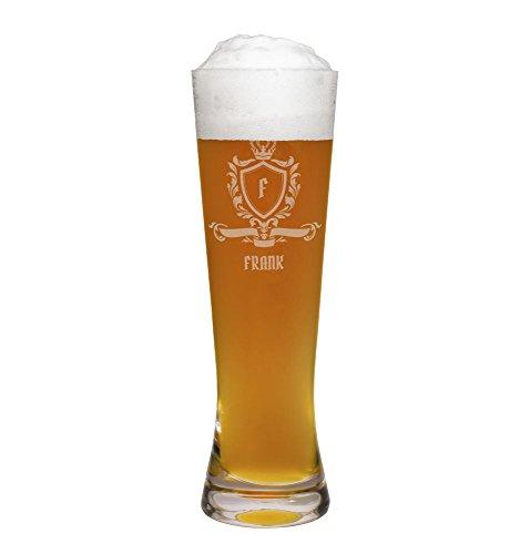 printplanet® Weizenglas mit Namen Frank graviert - Leonardo® Weißbierglas mit Gravur - Design Wappen