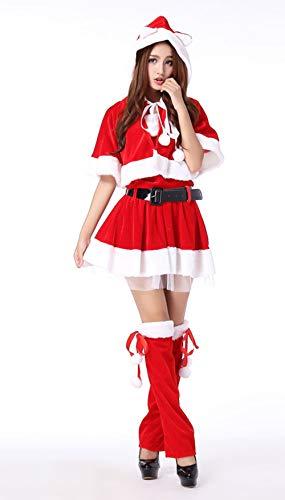 クリスマス コスプレ 可愛いコスチューム レディース クリスマス サンタ サンタクロース衣装 マント付きChristmas サンタ服 仮装 大人用 女性用 学園祭 文化祭 サンタ衣装 (レッド, フリー)