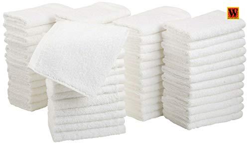 Westlane Linens 50 Piezas Toallas faciales de algodón Puro orgánico | Paños de Lavado Premium (30 x 30 cm), Color Blanco - Franela 100% algodón, Muy Absorbente y Suave al Tacto