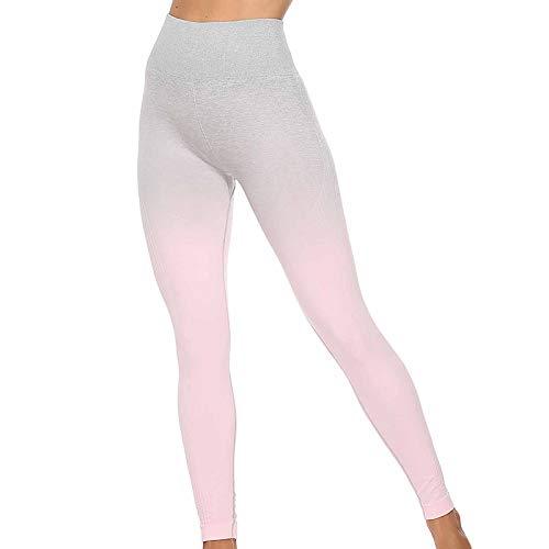 URIBAKY - Leggings deportivos para mujer, cintura alta para ejercitar el color degradado para levantar las glúteos rosa M