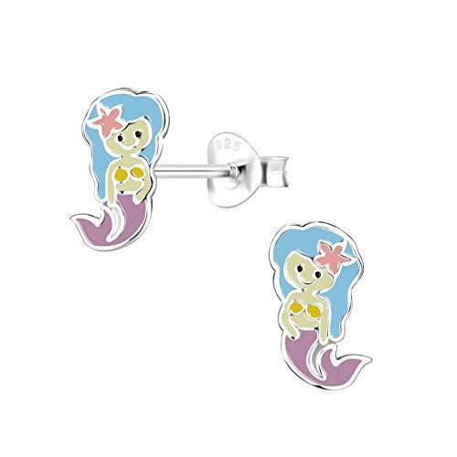 Laimons Pendientes infantiles de sirena, sirena, sirena, sirena, sirena, pez blanco, azul y morado, 11 x 6 mm, plata de ley 925