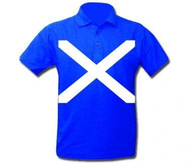 Scotland Maglia polo con bandiera scozzese (croce di S. Andrea), unisex, L 44-48 (112-122 cm)