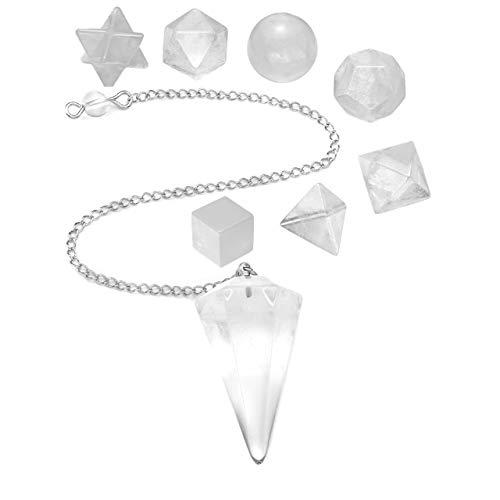 CrystalTears Set Pendule Radiesthesie Divinatoire + Géométrie de Solides Platoniciens 7pcs Chakras Quartz Cristal Energie Pierre de Guérison Bibelot Collection(Quartz Cristal de Roche Blanc)
