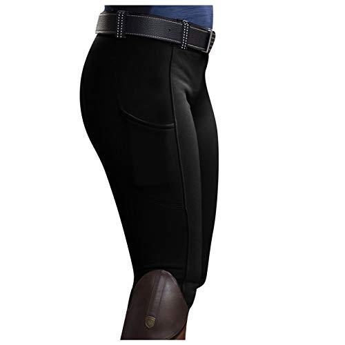 Ikevan - Pantalones de equitación para mujer, XL, Negro
