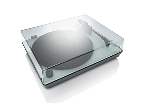 Lenco L-174 Edler Glas-Plattenspieler mit USB-Anschluss, Aluminiumteller, MMC, Digitalisierung über PC, abnehmbare Staubschutzhaube, Anti-Skating, Auto-Stop
