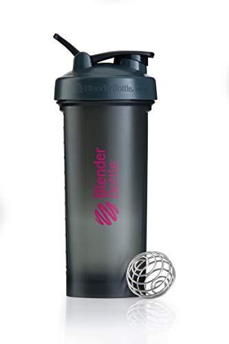 BlenderBottle Pro45 Shaker mit BlenderBall, optimal geeignet als Eiweiß Shaker, Protein Shaker, Wasserflasche, Trinkflasche, BPA frei, skaliert bis 1000 ml, Kapazität 1300ml, grau pink