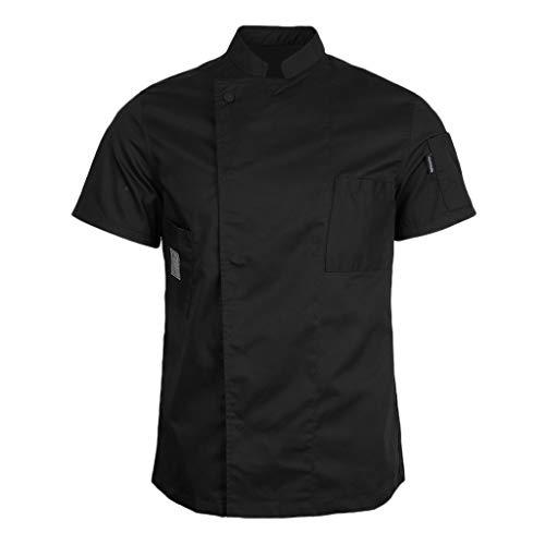 Fenteer Veste de Cuisine Homme et Femme Manches Courtes Professionnel - Noir, L