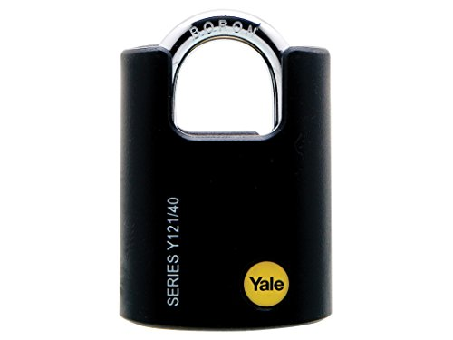 Yale Y121/40/125/1 Closed Shackle Brass Padlock, 40mm, pack of 1, suitable for gates and sheds