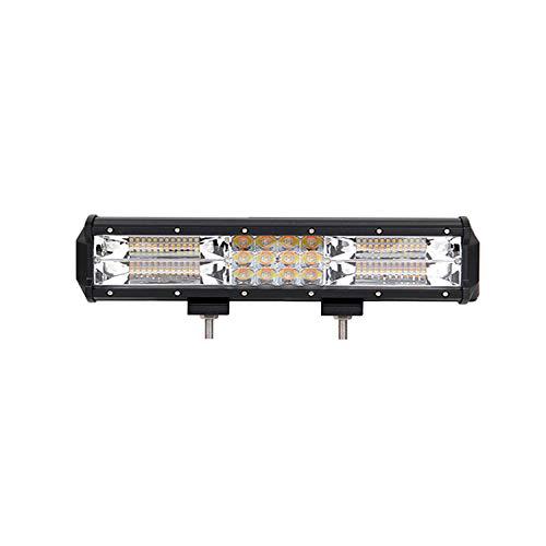 SKYWORLD Barra de luz LED estroboscópica, 12 pulgadas 180 W Triple fila Blanco Ámbar Intermitente Combo Haz de niebla Offroad Luz Coche Camión Indicador de emergencia