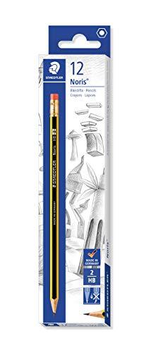 Staedtler Noris 122-HB. Lápices de madera certificada. Caja de 12 lápices con goma y mina HB.