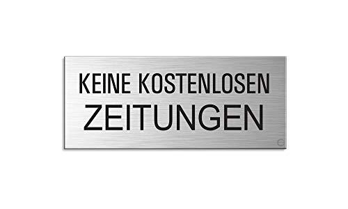 Briefkastenschild Keine kostenlosen Zeitungen | Aluminium Edelstahschilder-Optik | vollflächig selbstklebend 60×25 mm | Nr.29021-S