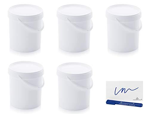MARKESYSTEM Cubo HERMÉTICO Catering Pack de 5 X 10,8 litros - Cubos de Plástico con Tapa - Contenedores Apilables - Envasar Alimentos, Líquidos y Pinturas - Polipropileno Blanco + Kit Etiquetado