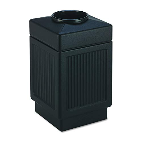 Safco Products Canmeleon Outdoor/Indoor Recessed Panel Trash Can 9475BL, Black, Decorative Fluted Panels, 38-Gallon Capacity