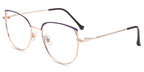 Firmoo Gafas Luz Azul para Mujer Hombre, Gafas Filtro Antifatiga Anti-luz Azul y contra UV400 Ordenador Gaming PC de Gafas Montura de Metal Moda, S1014 Dorado Púrpura