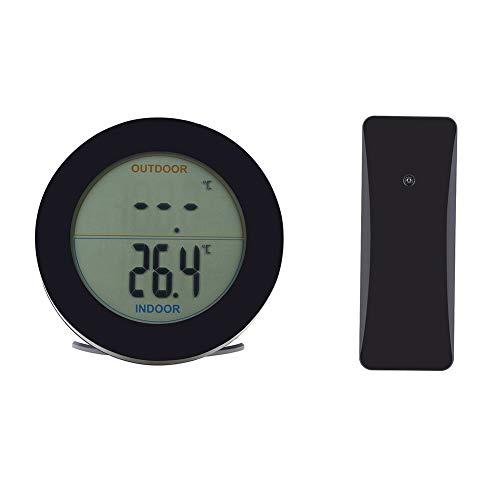 Delaman Thermomètre à la Maison, Thermomètre sans Fil Affichage LCD Capteur de température extérieur intérieur Capteur de température intérieur extérieur(Noir)